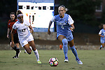 19 August 2016: North Carolina's Bridgette Andrzejewski (4) and Central Florida's Jen Vera (17). The University of North Carolina Tar Heels hosted the University of Central Florida Knights in a 2016 NCAA Division I Women's Soccer match. UNC won the game 2-0