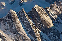 Aerial of the Maidens, Arrigetch Peaks,  rugged granite spires in the central Brooks Range of arctic Alaska, Gates of the Arctic National Park. The name means 'fingers of the outstretched hand' in the Inupiat language.