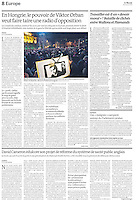 LE MONDE (main French daily):.Nationalism and media in Hungary -2011/06/16.Photo: Martin Fejer