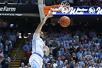 CHAPEL HILL, NC - FEBRUARY 25: Cole Anthony #2 of the University of North Carolina dunks the ball during a game between NC State and North Carolina at Dean E. Smith Center on February 25, 2020 in Chapel Hill, North Carolina.
