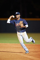 Tampa Yankees second baseman Abiatal Avelino (22) throws to first during a game against the Lakeland Flying Tigers on April 7, 2016 at Henley Field in Lakeland, Florida.  Tampa defeated Lakeland 9-2.  (Mike Janes/Four Seam Images)