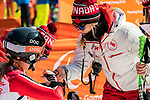 PyeongChang 11/3/2018 - Frederique Turgeon gets some hugs following the women's standing super-G at the Jeongseon Alpine Centre during the 2018 Winter Paralympic Games in Pyeongchang, Korea. Photo: Dave Holland/Canadian Paralympic Committee