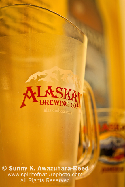 Close up of Alaskan Brewing Co. pitcher at Alaskan Brewing Depot, Juneau, Southeast Alaska.