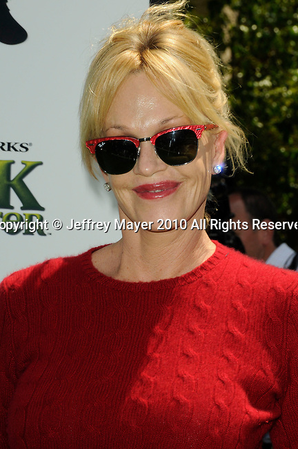 """UNIVERSAL CITY, CA. - May 16: Melanie Griffith arrives at the """"Shrek Forever After"""" Los Angeles Premiere at Gibson Amphitheatre on May 16, 2010 in Universal City, California."""