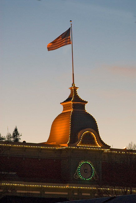 Flag flies above Goodman building in St. Helena