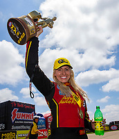 May 21, 2018; Topeka, KS, USA; NHRA funny car driver Courtney Force celebrates after winning the Heartland Nationals at Heartland Motorsports Park. Mandatory Credit: Mark J. Rebilas-USA TODAY Sports