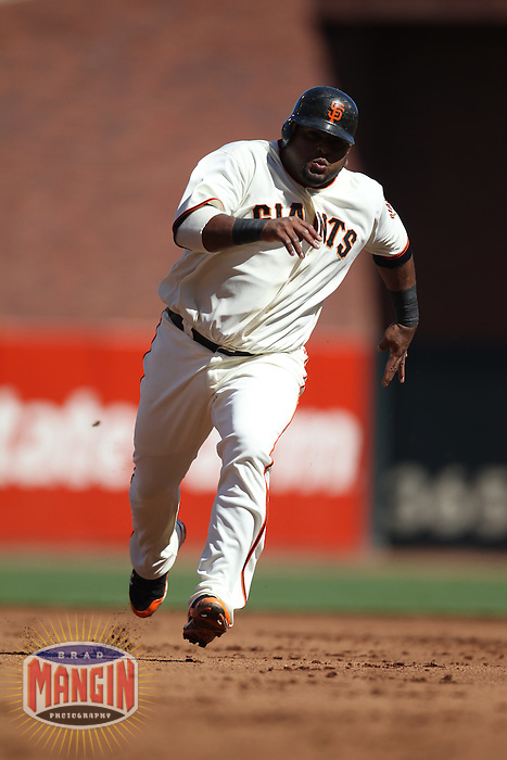 SAN FRANCISCO - JULY 28:  Pablo Sandoval #48 of the San Francisco Giants runs the bases against the Florida Marlins during the game at AT&T Park on July 28, 2010 in San Francisco, California. (Photo by Brad Mangin