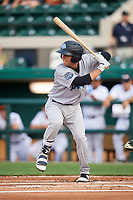 Tampa Tarpons first baseman Brandon Wagner (33) at bat during a game against the Lakeland Flying Tigers on April 5, 2018 at Publix Field at Joker Marchant Stadium in Lakeland, Florida.  Tampa defeated Lakeland 4-2.  (Mike Janes/Four Seam Images)