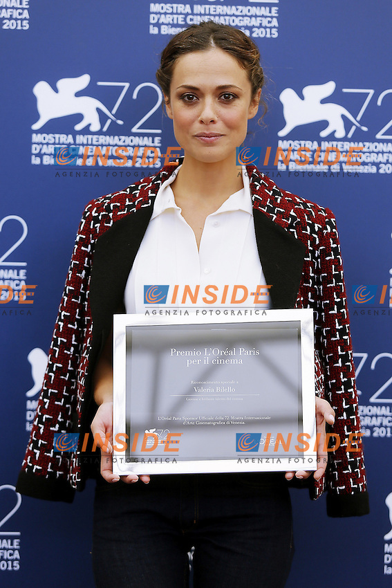 VENICE, ITALY - SEPTEMBER 10: Valeria Bilello attends 'L'Oreal Award' Photocall during 72nd Venice Film Festival at Palazzo Del Cinema on September 10, 2015 in Venice, Italy. (Mark Cape/insidefoto)