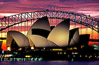 Images from the Book Journey Through Colour and Time<br /> Sunset over Australia's Sydney Opera House and Harbor Bridge