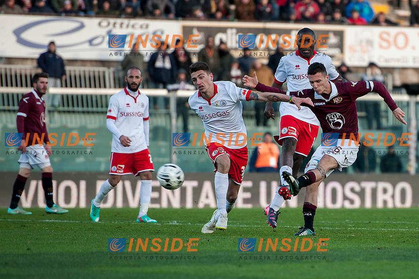 Gol del 4-2 Luca Siligardi Livorno<br /> Livorno 07-02-2015 Stadio Armando Picchi - Football Calcio Serie B 2014 / 2015 Livorno - Bari<br /> Foto Andrea Masini / Insidefoto