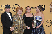 Debbie Reynolds &amp; daughter Carrie Fisher, son Todd Fisher &amp; granddaughter Billie Lourd at the 2015 Screen Actors Guild  Awards at the Shrine Auditorium.<br /> January 25, 2015  Los Angeles, CA<br /> Picture: Paul Smith / Featureflash