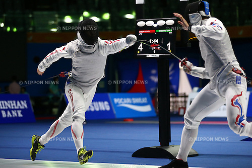 Kenta Chida (JPN),<br /> SEPTEMBER 25, 2014 - Fencing : <br /> Men's Team Foil Quater Final <br /> at Goyang Gymnasium <br /> during the 2014 Incheon Asian Games in Incheon, South Korea. <br /> (Photo by Shingo Ito/AFLO SPORT)
