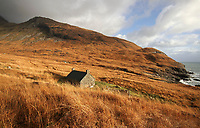 BNPS.co.uk (01202 558833)<br /> Pic: GeoffAllan/BNPS<br /> <br /> Dibidil Bothy on Rum.<br /> <br /> Wilderness walks - new book takes you down paths less travelled in the beautiful Scottish highlands.<br /> <br /> The stunning photos reveal Scotland's best remote walks, and also provide a rudimentary roof over your head at the end of the day. <br /> <br /> Geoff Allan has spent over 30 years travelling the length and breadth of the scenic country, passing through idyllic and untouched landscapes.<br /> <br /> The routes he has selected feature secret beaches, secluded glens, hidden caves and mountains.<br /> <br /> They also include bothies - remote mountain huts - which provide overnight shelter in the wilderness.<br /> <br /> Geoff has listed his top 28 trails complete with GPS maps and descriptions in his book Scottish Bothy Walks.