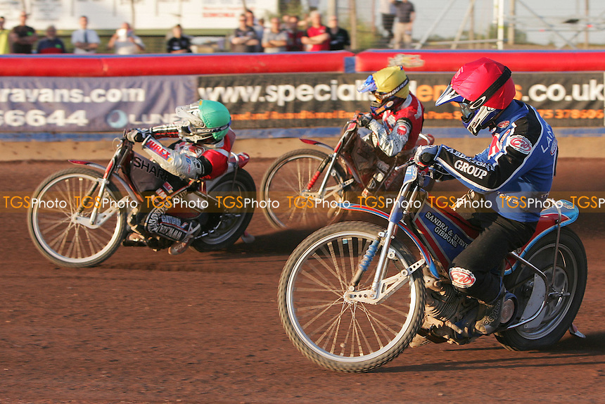 Heat 7 - Ryan Sullivan leads ahead of Neils Kristian Iversen (yellow) and Leigh Lanham - Arena Essex Hammers vs Peterborough Panthers - Sky Sports Elite League 'A' Fixture - 03/07/06 - (Gavin Ellis 2006)