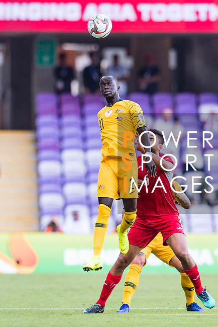 Awer Mabil of Australia (L) competes for the ball heads the ball during the AFC Asian Cup UAE 2019 Group B match between Australia (AUS) and Jordan (JOR) at Hazza Bin Zayed Stadium on 06 January 2019 in Al Ain, United Arab Emirates. Photo by Marcio Rodrigo Machado / Power Sport Images