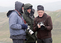 Plane spotters at Bwlch compare cameras and lenses. Many have invested quite a lot in their camera gear to capture good pictures of the aircraft. The 'Mach Loop' is the nick name of an area in Wales used for low flying by the Royal Air Force. The proximity to the aircraft has made the area popular with plane spotters who come to see and photograph the aircraft.