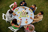 USA, Tennessee, Nashville, Iroquois Steeplechase, friends enjoy a meal and each other's company