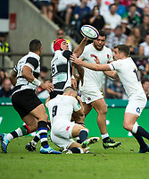 Twickenham, Surrey, United Kingdom. Schalk BRITS passes the ball over George FORD, passes  during the, Old Mutual Wealth Cup, England vs Barbarian's match, played at the  RFU. Twickenham Stadium, on Sunday   28/05/2017England    <br /> <br /> [Mandatory Credit Peter SPURRIER/Intersport Images]