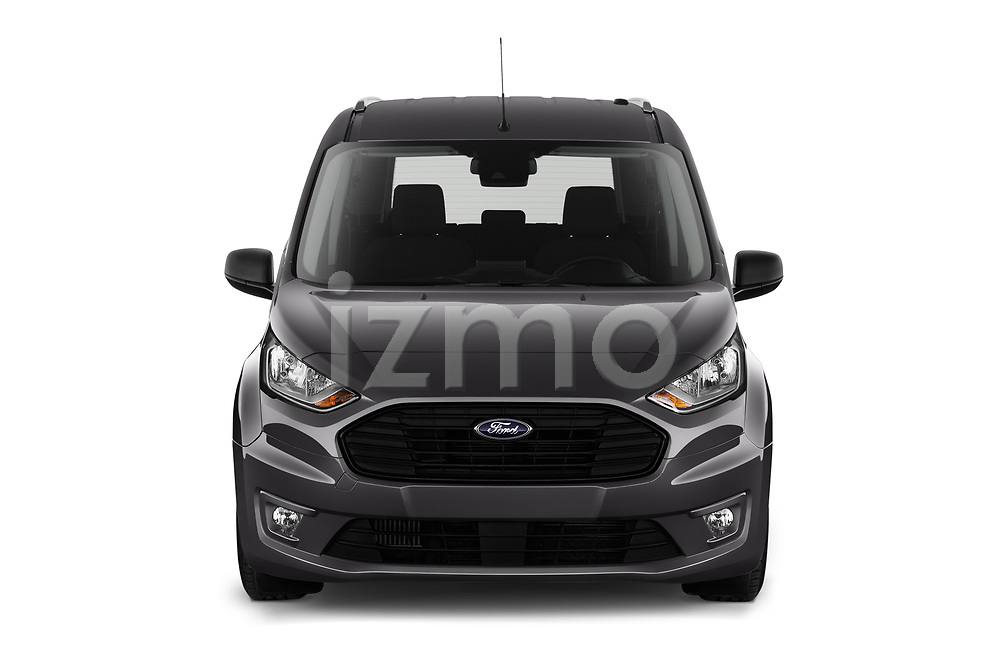 Car photography straight front view of a 2019 Ford Tourneo-Connect Trend 5 Door Mini Mpv Front View