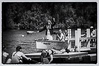 Henley. Berks, United Kingdom, 17th June, 2017 Henley' Women's Regatta. Umpire, Jacomina RAVENSBERGEN, [NED] officiating at the  2017 Henley' Women's Regatta. Rowing on, Henley Reach. River Thames. <br /> <br /> &quot;Film Noir Style Photography&quot;, &copy; Peter SPURRIER