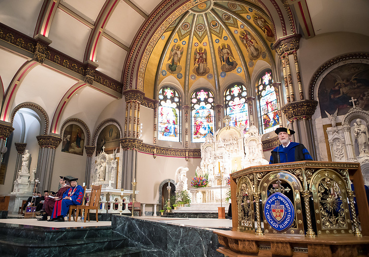 Marten denBoer, provost, offers remarks during the 120th DePaul University Convocation on Thursday, August 31, 2017, at St. Vincent de Paul Parish Church. DePaul University President A. Gabriel Esteban, Ph.D., also provided remarks and many faculty and staff were recognized with annual awards including: Excellence in Teaching, Spirit of Inquiry, Excellence in Public Service, Vincent de Paul Professorship, Spirit of DePaul, Staff Quality Service, Gerald Paetsch Academic Advising and faculty promotion and tenure. (DePaul University/Jeff Carrion)