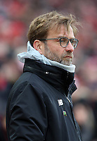 Liverpool Manager Jürgen Klopp  prior to kick off of the Premier League match between Liverpool and Swansea City at Anfield, Liverpool, Merseyside, England, UK. Saturday 21 January 2017