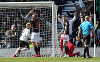 Bolton Wanderers' David Wheater and Joe Williams despair after conceding an opening goal to Derby County<br /> <br /> Photographer Andrew Kearns/CameraSport<br /> <br /> The EFL Sky Bet Championship - Derby County v Bolton Wanderers - Saturday 13th April 2019 - Pride Park - Derby<br /> <br /> World Copyright &copy; 2019 CameraSport. All rights reserved. 43 Linden Ave. Countesthorpe. Leicester. England. LE8 5PG - Tel: +44 (0) 116 277 4147 - admin@camerasport.com - www.camerasport.com