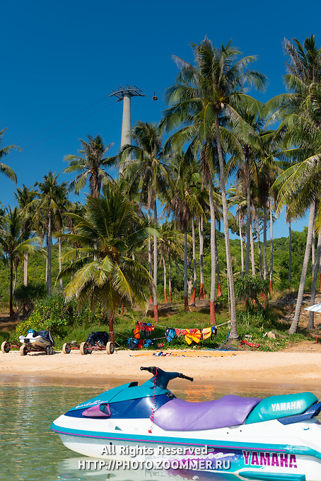 Phu Quoc Cabel Car With Jet-ski In Front, Phuquoc island, Vietnam
