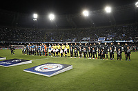 Football Soccer: UEFA Champions League Napoli vs Mabchester City San Paolo stadium Naples, Italy, November 1, 2017. <br /> Napoli and Manchester City teams line up prior to the start of during the Uefa Champions League football soccer match between Napoli and Manchester City at San Paolo stadium, November 1, 2017.<br /> UPDATE IMAGES PRESS/Isabella Bonotto