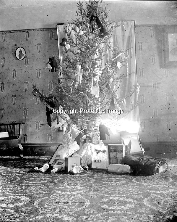 CHRISTMAS TREE. There are presents as well as ornaments decorating this tree, such as a pair of gloves. Among the dolls under the tree are two children's books at left--Phil the Showman (published in 1902) and Frisky Squirrel (published in 1915).<br />