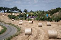 peloton cutting through the landscape<br /> <br /> Stage 10: Saint-Flour to Albi(217km)<br /> 106th Tour de France 2019 (2.UWT)<br /> <br /> ©kramon