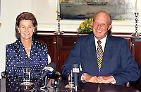 "King Harald, and Queen Sonja of Norway, State Visit to Latvia, Press meeting on The Royal Yacht "" Norge """