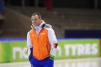 SCHAATSEN: HEERENVEEN: IJsstadion Thialf, 10-01-2013, Seizoen 2012-2013, Essent ISU EK allround training, Jan van Veen (trainer/coach Team van Veen), ©foto Martin de Jong