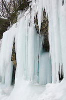 Ice formations at Pictured Rocks National Lakeshore in Munising Michigan Upper Peninsula.