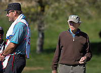 160210 Caddie Nick Faldo with Clint Eastwood during the Wednesday Shootout at The AT&T National Pro Am at The Pebble Beach Golf Links in Monterey, California. (photo credit : kenneth e. dennis/kendennisphoto.com)