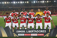 BOGOTA - COLOMBIA - 20 - 02 - 2018:Formación del equipo Independiente Santa Fe de Colombia, durante partido de vuelta entre Independiente Santa Fe (COL) y Santiago Wanderers (CHL), de la fase 3 llave 1, por la Copa Conmebol Libertadores 2018, jugado en el estadio Nemesio Camacho El Campín de la ciudad de Bogotá. / Tea of Independiente Santa Fe of Colombia , during a match for the second leg between Independiente Santa Fe (COL) and Santiago Wanderers (CHL), of the 3rd phase key 1, for the Copa Conmebol Libertadores 2018 at the Nemesio Camacho El Campin Stadium in Bogota city. Photo: VizzorImage  /Felipe Caicedo/ Staff.