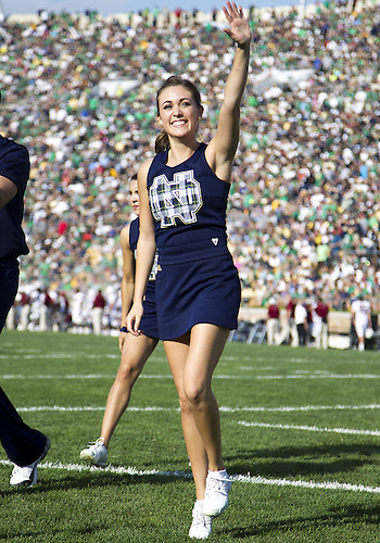August 31, 2013:  Notre Dame cheerleader Lauren McGrath performs during NCAA Football game action between the Notre Dame Fighting Irish and the Temple Owls at Notre Dame Stadium in South Bend, Indiana.  Notre Dame defeated Temple 28-6.