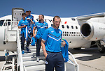 FC Luzern v St Johnstone...16.07.14  Europa League 2nd Round Qualifier<br /> Captain Dave Mackay steps off the plane at Basel in Switzerland ahead of tomorrow's game against FC Luzern<br /> Picture by Graeme Hart.<br /> Copyright Perthshire Picture Agency<br /> Tel: 01738 623350  Mobile: 07990 594431