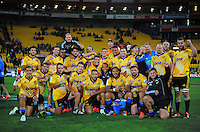 Ma'a Nonu celebrates victory in his 150th super rugby macth with teammates after the Super Rugby match between the Hurricanes and Stormers at Westpac Stadium, Wellington, New Zealand on Friday, 2 April 2015. Photo: Dave Lintott / lintottphoto.co.nz