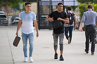 San Jose, CA - Tuesday June 11, 2019: Cristian Espinoza #10 and Marcos López #27 enter the stadium before the US Open Cup match between the San Jose Earthquakes and Sacramento Republic FC at Avaya Stadium.