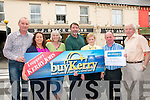 Buy Kerry: Tjis weeks lucky winner, Bridie Moloney, Leitrim Middle, Moyvane chose to spend her winnings at E.J Stacks Arcade store in Listowel. L- R : James Moloney, Tanya Allen, Kerry's eye, Joan & Damian Stack, E.J Stack Arcade, Bridie Moloney, Dennis Dillane, Manager  Listowel Credit Union & Christy Killeen, Sec. Listowel Credit Union.