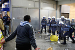 Protesters clash with riot police outside of Ministry of Finance. Demonstration against IMF and the new austerity measures.