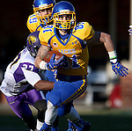 BROOKINGS, SD - OCTOBER 24:  Matt Raymond #81 from South Dakota State looks for room past Edwin Young #27 from University of Northern Iowa in the third quarter of their game Saturday afternoon at Coughlin Alumni Stadium in Brookings. (Photo by Dave Eggen/Inertia)