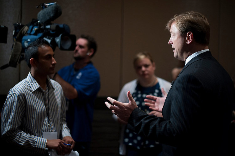 UNITED STATES - JULY 9: Sen. Dean Heller, R-Nev., answers questions from the local media at the 2011 Conservative Leadership Conference at the M Resort Spa Casino in Las Vegas on Saturday, July 9, 2011. (Photo By Bill Clark/Roll Call)