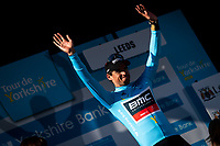 Picture by Alex Whitehead/SWpix.com - 05/05/2018 - Cycling - 2018 Tour de Yorkshire - Stage 4: Halifax to Leeds - Greg Van Avermaet wins the overall General Classification of the 2018 Tour de Yorkshire.