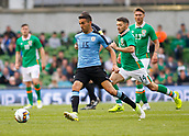 June 4th 2017, Aviva Stadium, Dublin, Ireland; International football friendly, Republic of Ireland versus Uruguay; Matias Vecino (Uruguay) gets to the ball ahead of Wes Hoolahan (Republic of Ireland)
