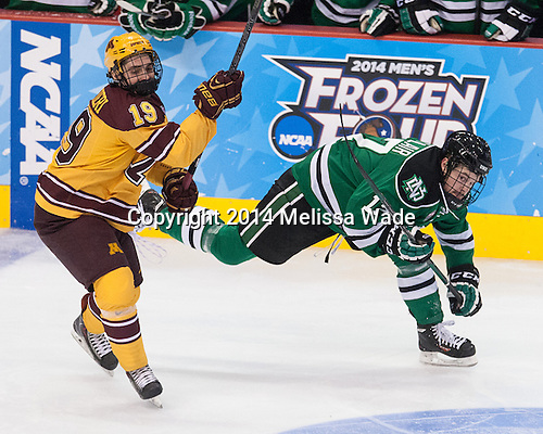 Vinni Lettieri (MN - 19), Colten St. Clair (North Dakota - 17) - The University of Minnesota Golden Gophers defeated the University of North Dakota 2-1 on Thursday, April 10, 2014, at the Wells Fargo Center in Philadelphia to advance to the Frozen Four final.