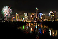 Colorful Fireworks like the Austin Skyline on New Year's Eve in Downtown Austin, Texas