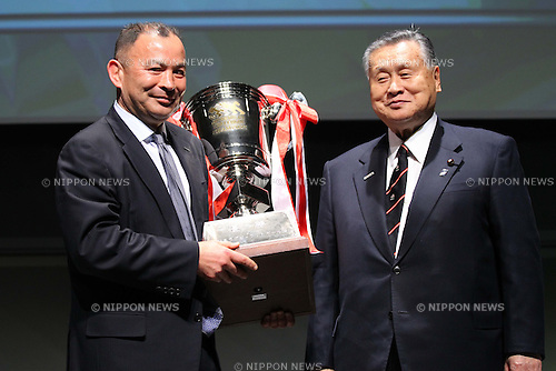 L to R   Eddie Jones head coach (SUNTORY),  Yoshiro Mori, .February 27, 2012 - Rugby : .Japan Rugby Top League 2011-2012 Awards Ceremony .at Tokyo International Forum, Tokyo, Japan. .(Photo by Daiju Kitamura/AFLO SPORT) [1045].
